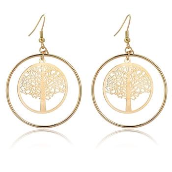 Женская ювелирные изделия классический 18 К золото болтаются серьги из большие серьги дерево серьги этнические украшения SER140292