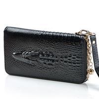 Sale Women's genuine leather wallets Fashion 3d crocodile head embossing wallets lady pureses black wallets clutch bags female