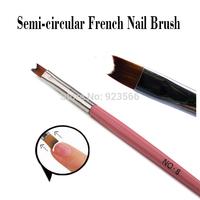 SaintRomy Nail Art Profession 3pcs New Semi-circular Brush Head Wood Handle 16.5cm length Nail Gel Polish French Brush for Nails