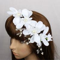 Wholesale Original Design White Flower Bridal Headpiece Handmade Luxury With Crystal and Rhinestones