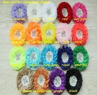 "DHL  free shipping!120 pcs/lot, 3.3"" hair accessories Beaded chiffon Pearl Rhinestone Chiffon Ruffled Flower"