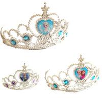 coroa frozen hair clips elsa crown Abby Fish Girls Frozen Ornaments Frozen Elsa&Anna Rhinestone Crown Girls Party Accessories