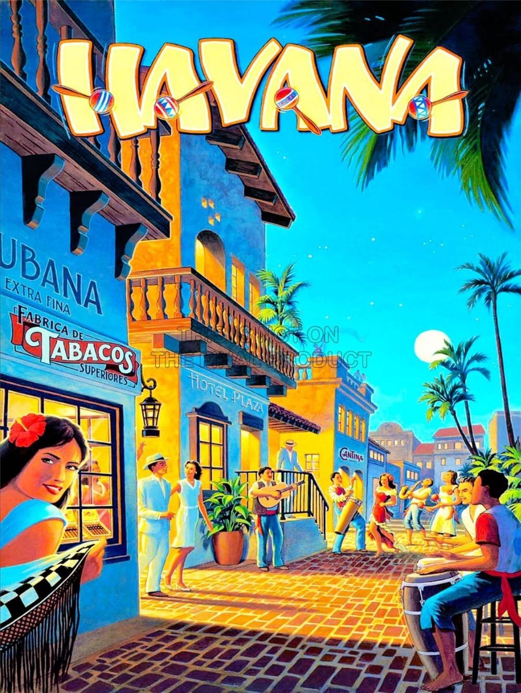 TRAVEL TOURISM CUBA HAVANA CARIBBEAN RESORT MOON PALM ART PRINT POSTER 20x30 inch wall poster(China (Mainland))