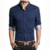 C222 New Fashion Men's Luxury Slim Fit Long Sleeve Casual Dress Shirts Color White NavyBlue