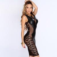 2014 Faux Leather Floral Lace Mesh Little Club Dress European American Nightclub Black Women Dress Sexy Charming Dresses Women