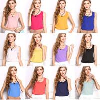 M1New 2014 Woman Brand Top Basic Female Chiffon Sleevelss Shirt Blouse Blusas Femininas Tank Tops S1022