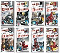 HOT sale 2014 classic toys 8pcs minifigures The iron man series Mini Figures Blocks Toy for lego Avengers Souptoys for children