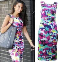 Hot Sale New 2015 spring and summer Europe Branded printed Sleeveless chiffon dress Slim pencil dress