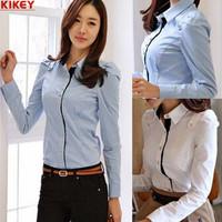 2014 Korean Styke Women Blouses Hit Color With Button Female Blusa Plus Size Explosion Model XXL Camisa Das Mulheres NZ580