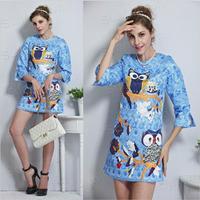 Wholesale quality elegant brand winter casual dresses women 2014 autumn vintage animal print owl dress work wear blue
