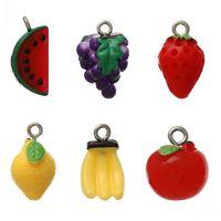 Dorabeads Resin Charm Pendants Fruit Mixed Color 19mm x 14mm-14mm x 12mm,30PCs