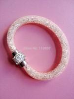 NEW 2014 HOT Whoelsale 12pcs/lot CHAMPINE Fashion Net Resin Rhinestone Women Girls Magnetic Snap Bangle Bracelets