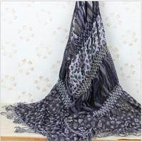 Fashion leopard print scarf women desigual scarf with tassels leopard voile soft scarf spring autumn winter scarves