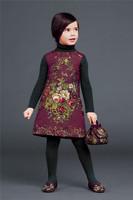 Top Quality brand design European autumn winter children clothing girls Sleeveless dress flowers fashion princess 3-12T Floral