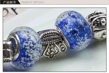925 silver plated charm glass beads bracelets Fits Pandora Style Bracelets christmas gift wholesale jewelry PDL0016