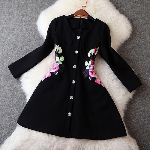 2014 New Luxury Women Dress Vestido Clothing Autumn Dress Fashion Vintage Long Sleeve Waist Flower Print Dress A-Line Dress(China (Mainland))