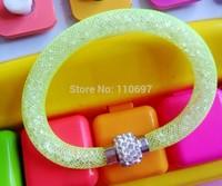 NEW 2014 HOT Whoelsale 12pcs/lot GREEN Fashion Net Resin Rhinestone Women Girls Magnetic Snap Bangle Bracelets