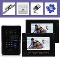 "RFID Keyfobs Password Keypad Camera Remote Control 9"" Video Door Phone Doorbell Video Intercom Touch Monitor Strike Lock CCTV"