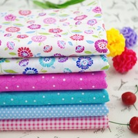 Colorful Spring flower check printed patchwork cotton fabric  ,40cm*50cm 6pcs quilting cotton textile for sewing tilda cloth