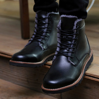 Mens High Top Winter Warm Thick Cotton Leather Winter Fur Leather Thermal Cotton Leather British Style Lace Up Boots Free Shipp