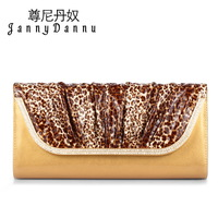 Johnny rocket female day clutch fashion clutch gold women's cowhide handbag 2014 one shoulder small bags