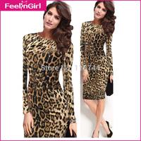 Drop Shipping 2014 Fashion Sexy Girls Bandge Dress Long Sleeve Midi Packhip Leopard Dress Party Bodycon Formal Vestidos