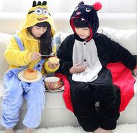 C Children Cartoon Minions Bat Flannel Hooded pajamas Jumpsuits leisurewear Sleepwear housecoat Cosplay Costume Christmas Gifts