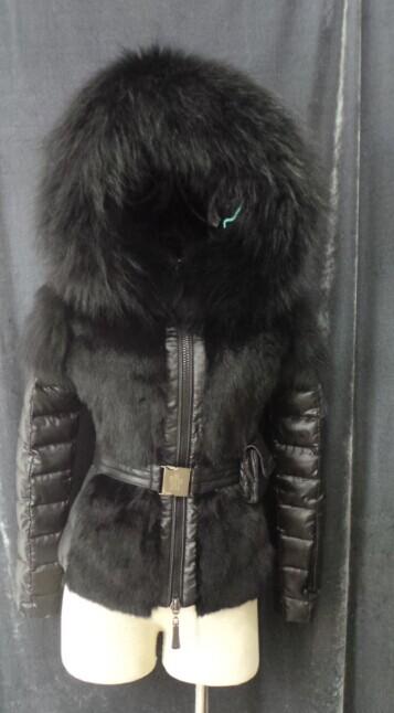 Кроличий мех куртка верхняя одежда зима женщины в большие мех воротник мех вниз пальто приталенный короткая марка дизайн