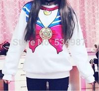 NEW 2014 Sailor moon harajuku Sweatshirts fake faux top cute kawaii cosplay sailor costume new Free Shipping sweater