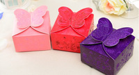 100pcs bronzing  butterfly  Wedding Favor Boxes gift box candy box  wedding box