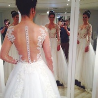 New Arrival Beautiful Good Quality Lace See Through Back with Long Sleeves white Lace appliques Wedding Dress 2014 FSL-333