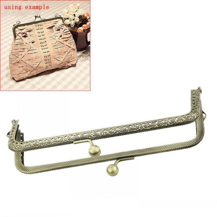 Retail Metal Frame Kiss Clasp For Purse Bag Antique Bronze 15.5cm x 7cm(Can Open Size:15.5cm x 14cm),3PCs(China (Mainland))