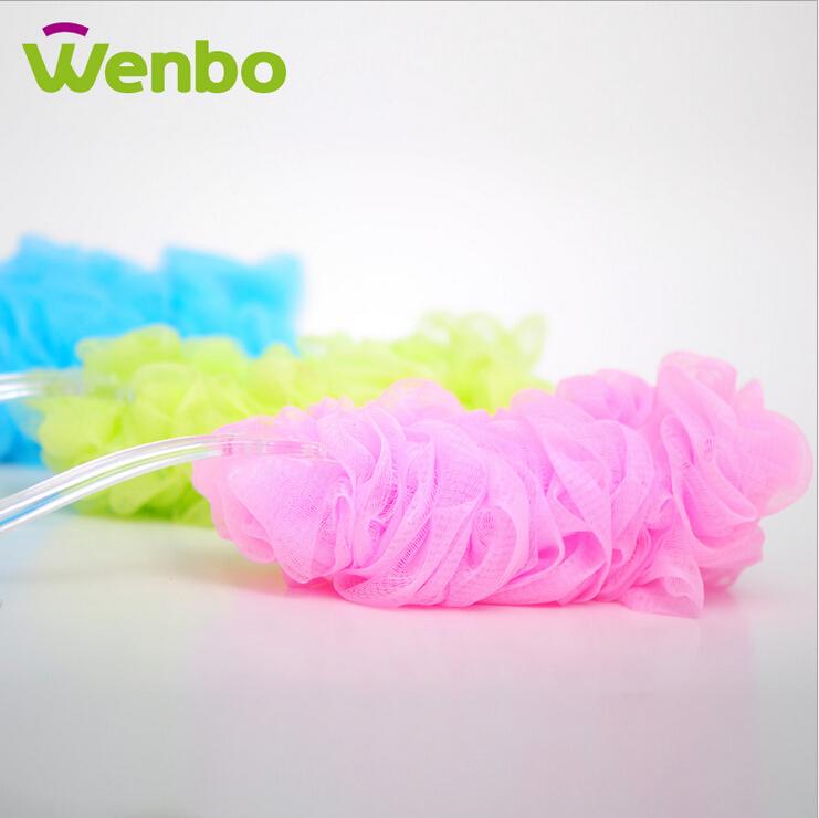 45cm Clean Brushes Long Handle Nylon Mesh Ball Brush Sponges Scrubbers Bath Shower Puff transparent Body Brush Massager(China (Mainland))