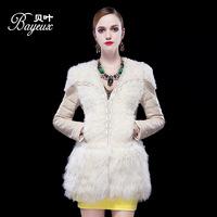 stylish lady white / black Genuine  sheep skin leather lamb wool crystal decoration dress patchwork 173cm tall modal wear M