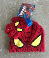 Retail 1 set  spiderman baby boys 2014 Children  cartoon winter knitted hat and gloves Spider-Man Hat & Glove Sets Free shipping