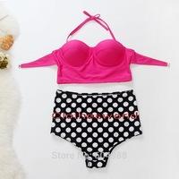 Sexy Retro High Waist Swimsuit Bandage Women Swimwear Push Up Bikinis Set Bathing Suit