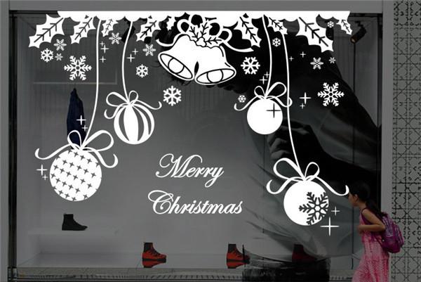 Christmas Decorations Wall Decal Papai Noel Artificial Snow Window Wall Sticker Vinilos Decorativos Pared Snowing Christmas Tree(China (Mainland))