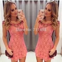 Pink lace women dress with the flower neck vestidos de venda mini dress