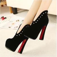 2013 boots ultra high platform heels thick heel rivets boots sexy shoes