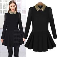 2014 new arrival European & American long-sleeved dress doll collar temperament Slim thin beading new female dress winter cloth