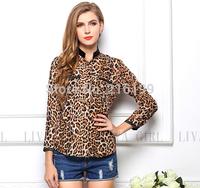 2014 Fashion New Style Wholesale Woman Star Or Cheetah Long-Sleeved Chiffon Shirt Chiffon Blouse