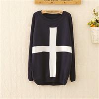 New Women Fashion Cross Pattern Knit Sweater Outerwear Lady Casual Winter Long Sleeve Sweater Crew Pullover Tops
