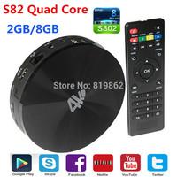 S82 Smart TV Box Android 4.4  Amlogic S802 2.0GHz S89 Quad Core Mali450GPU Support 4K 2G/8G Bluetooth4.0 WIFI XBMC Media Player