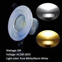5pcs/lot 5W Silver Ceiling Recessed Down Light LED COB 450lm Pure White/Warm White Round Panel lights LEDTD093+94