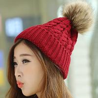 New Arrival 2014 Fashion Knitted Caps Women's Hats Crochet Beanies Thickening Warm Pompon Winter Hats Wool Cap Women Beanie Hat