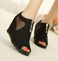 2013 fashion wedges gauze open toe cutout sandals black front zipper platform women's platform shoes