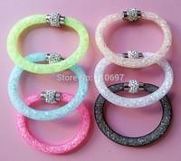 Free CN Shipping NEW 2014 HOT 12pcs/lot Mixed 6 Colors Fashion Net Rhinestone Women Magnetic Snap Bangle Bracelet
