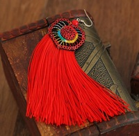 Free shipping,Embroidery color tassel earrings