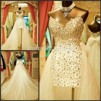 Vestido де Noiva на заказ милая из бисера свадебное платье со съемными юбка 2015 ну вечеринку платья свадебные платья