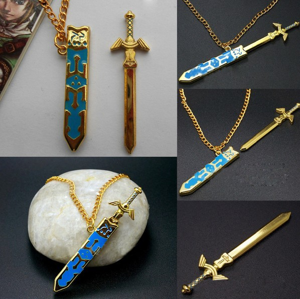 New Arrival Legend of Zelda Removable Master Sword Necklace Pendant Cosplay Unisex Women Men Jewelry Wholesale 20pcs/lot(China (Mainland))